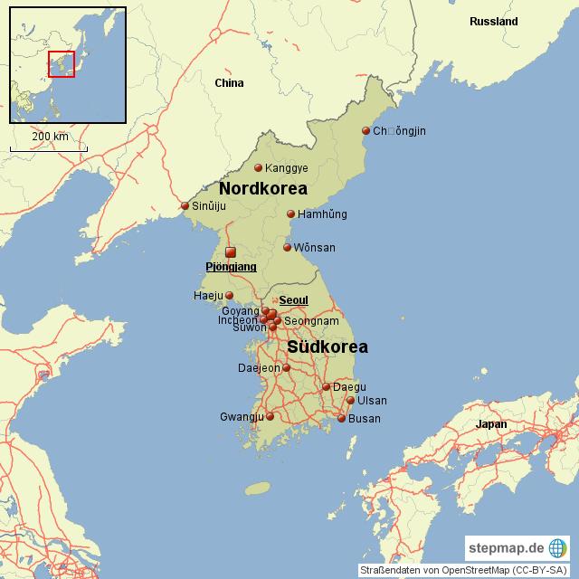 Südkorea Karte.Stepmap Korea Nord Süd Landkarte Für Nordkorea