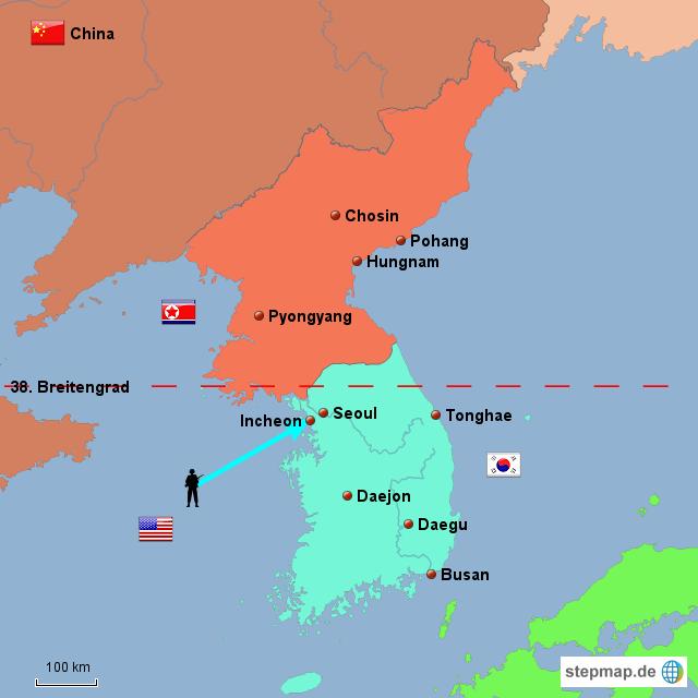 StepMap - Koreakrieg - Landkarte für Asien