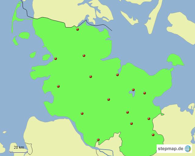 StepMap - Kreisstädte - Landkarte für Deutschland