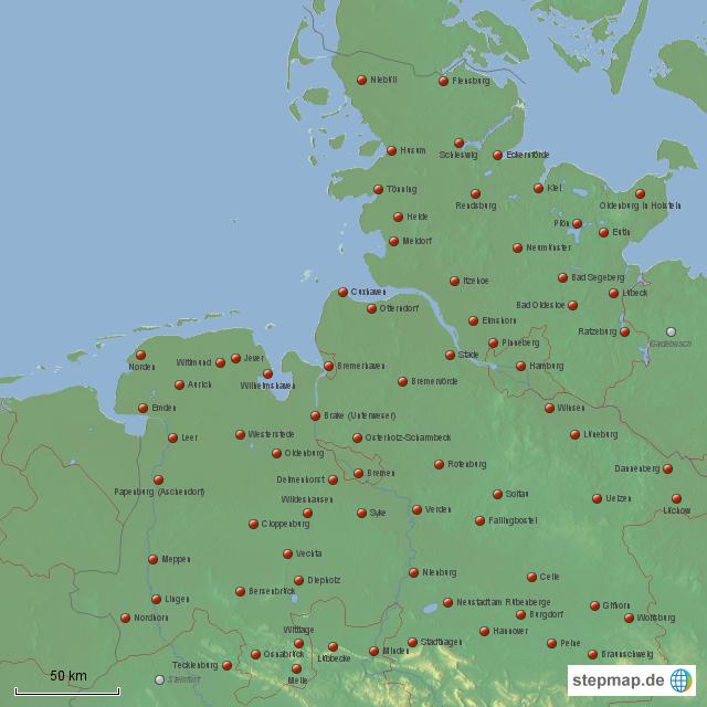 StepMap - Kreisstädte NW - Landkarte für Deutschland