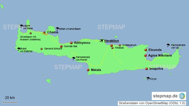 Kreta Karte Mit Sehenswürdigkeiten.Stepmap Kreta Landkarte Für Griechenland