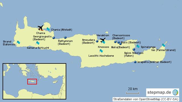 Kreta Karte Mit Sehenswürdigkeiten.Stepmap Kreta Touristisch Landkarte Für Griechenland