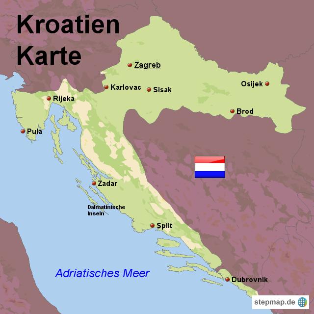 kroatien karte von karten landkarte f r kroatien. Black Bedroom Furniture Sets. Home Design Ideas