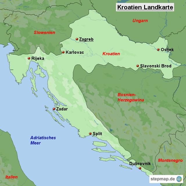 stepmap kroatien landkarte landkarte f r kroatien. Black Bedroom Furniture Sets. Home Design Ideas