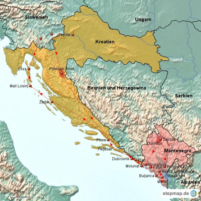 Karte Montenegro Kroatien.Stepmap Kroatien Und Montenegro 2 Landkarte Fur Europa