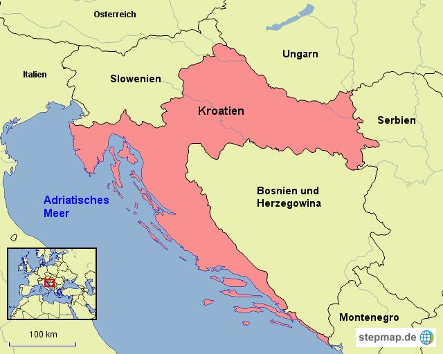 stepmap kroatien und nachbarl nder landkarte f r europa. Black Bedroom Furniture Sets. Home Design Ideas
