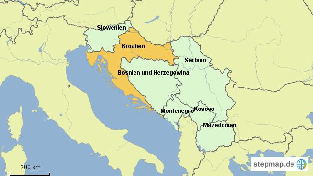 stepmap kroatien und ehemaliges jugoslawien landkarte. Black Bedroom Furniture Sets. Home Design Ideas