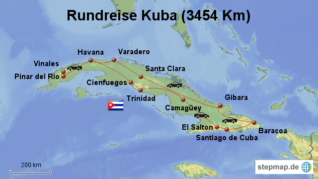 Kuba Karte Rundreise.Stepmap Kuba Rundreise 0 Landkarte Fur Deutschland