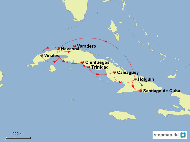 Kuba Karte Rundreise.Stepmap Kuba Rundreise Landkarte Fur Kuba
