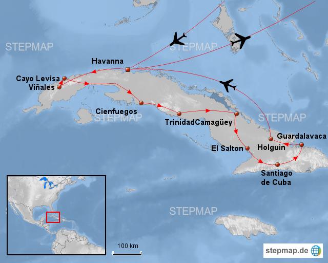 Kuba Karte Rundreise.Stepmap Kuba Rundreise Landkarte Fur Brasilien