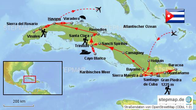 Kuba Karte Rundreise.Stepmap Kuba Rundreise Landkarte Fur Nordamerika