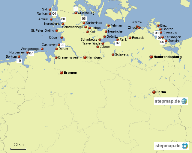 landkarte küste deutschland StepMap   Küste Deutschland   Landkarte für Deutschland