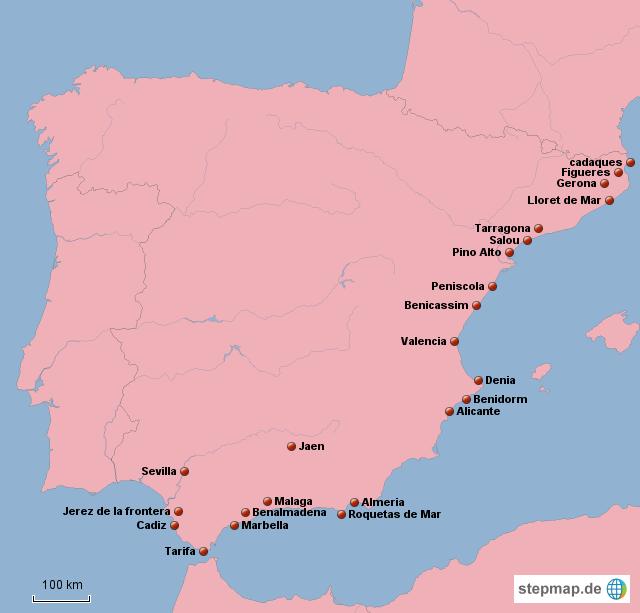 Spanien Karte Küsten.Stepmap Küsten Spanien Landkarte Für Deutschland