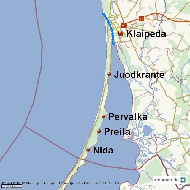 Kurische Nehrung Karte.Stepmap Kurische Nehrung Landkarte Für Welt