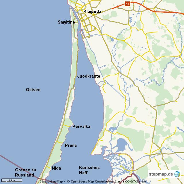 kurische nehrung karte StepMap   Kurische Nehrung Litauen   Landkarte für Deutschland