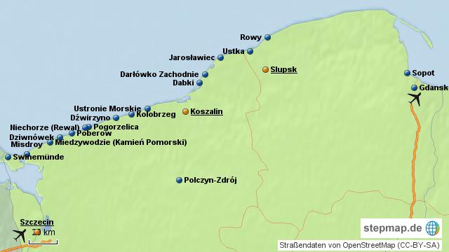 polnische ostsee karte StepMap   Kururlaub an der Polnischen Ostsee   Landkarte für Polen
