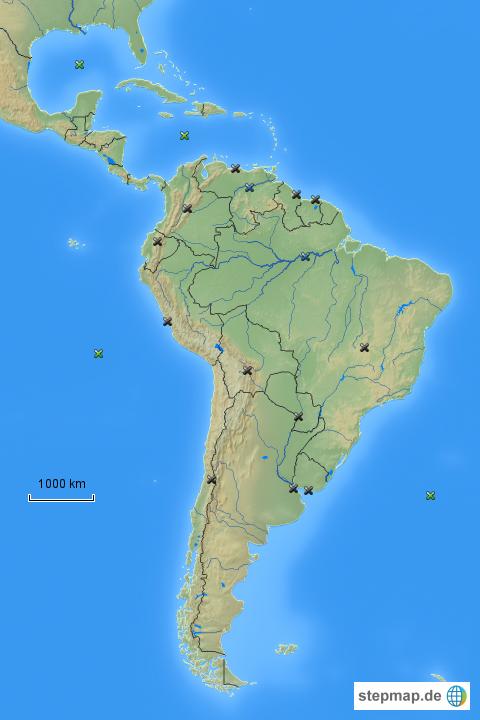 Südamerika Karte Länder.Stepmap Länder Hauptstädte Flüsse Landkarte Für Südamerika