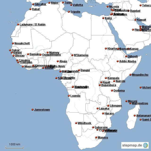 afrika karte länder und hauptstädte StepMap   Länder und Hauptstädte   Landkarte für Afrika
