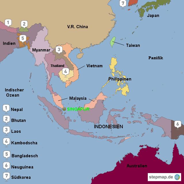 Karte Australien Und Umgebung.Stepmap Lage Singapur Und Nachbarlander Landkarte Fur Asien