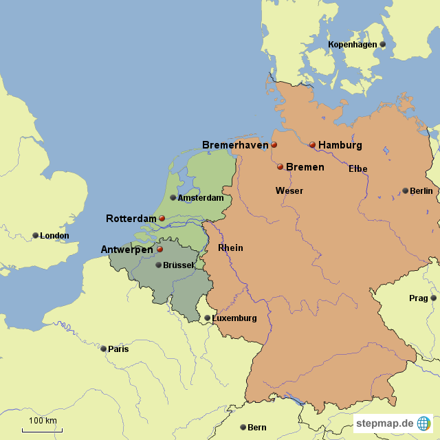 karte hamburg bremen StepMap   Lage der Häfen Hamburg, Bremen/Bremerhaven, Rotterdam