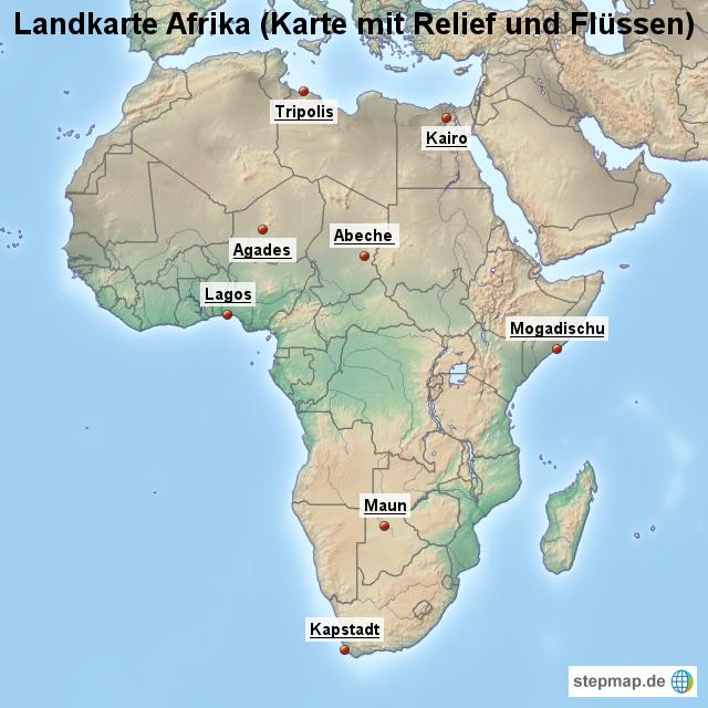 afrika karte flüsse StepMap   Landkarte Afrika (Karte mit Relief und Flüssen  afrika karte flüsse