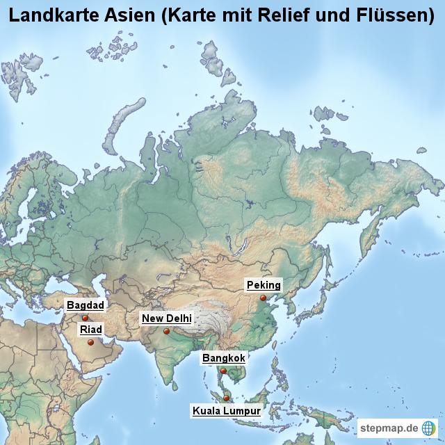 Landkarte Asien.Stepmap Landkarte Asien Karte Mit Relief Und Flussen