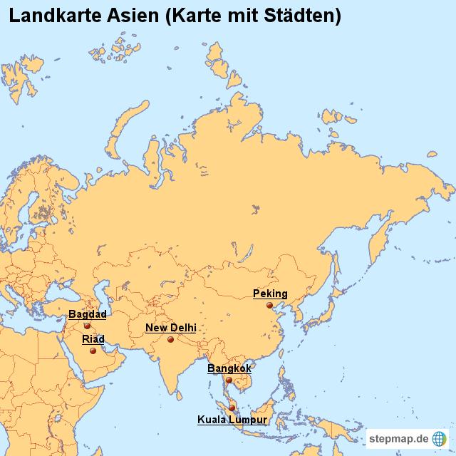 Landkarte Asien.Stepmap Landkarte Asien Karte Mit Stadten Landkarte