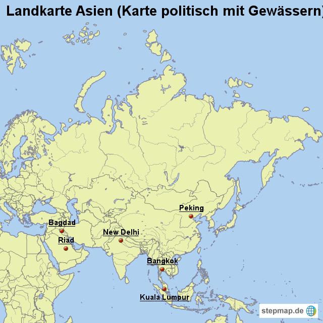 Landkarte Asien.Stepmap Landkarte Asien Karte Politisch Mit Gewassern