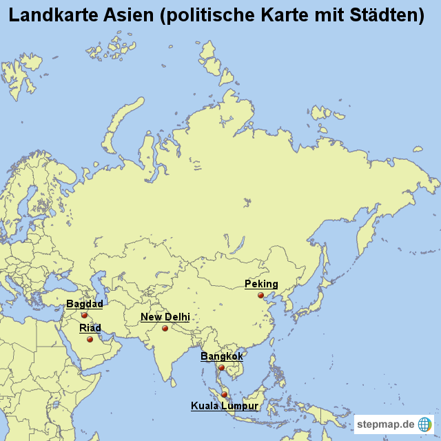 Politische Karte Asien.Stepmap Landkarte Asien Politische Karte Mit Städten Landkarte