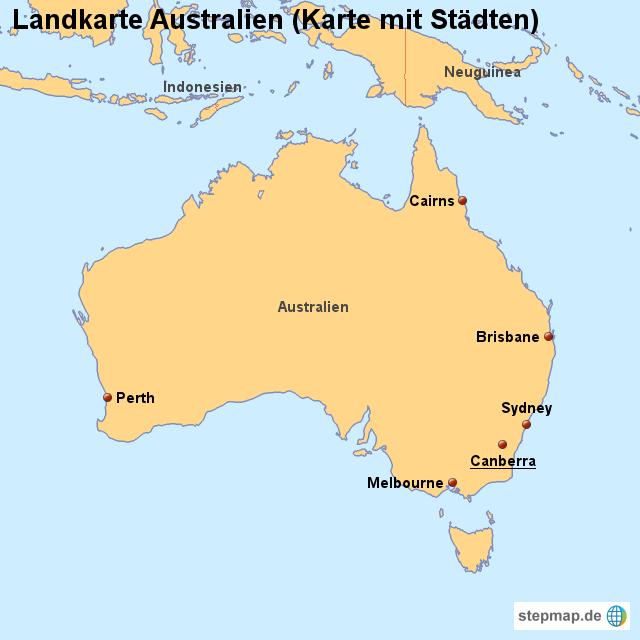 landkarte australien karte mit st dten von l nderkarte. Black Bedroom Furniture Sets. Home Design Ideas