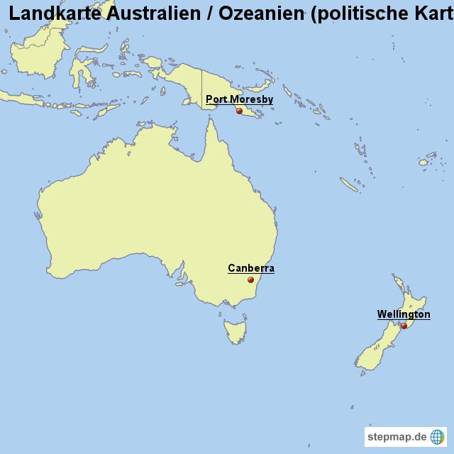 landkarte australien ozeanien politische karte mit. Black Bedroom Furniture Sets. Home Design Ideas