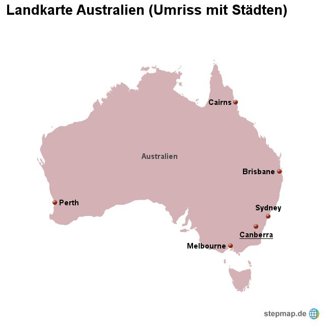australien karte umriss StepMap   Landkarte Australien (Umriss mit Städten)   Landkarte