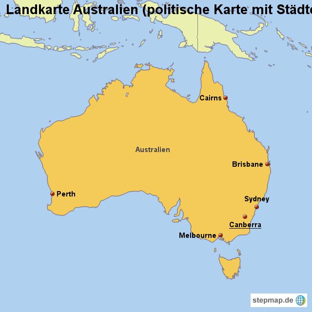landkarte australien politische karte mit st dten von. Black Bedroom Furniture Sets. Home Design Ideas