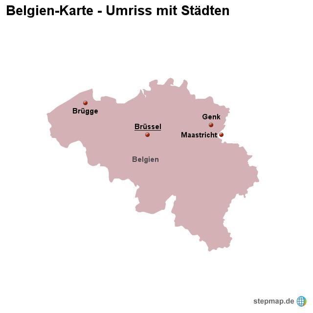 Belgien Karte Umriss.Stepmap Landkarte Belgien Umriss Mit Städten Landkarte Für Belgien