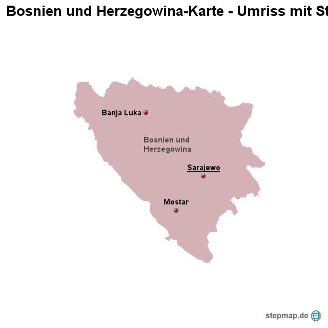 stepmap landkarte bosnien und herzegowina umriss mit. Black Bedroom Furniture Sets. Home Design Ideas