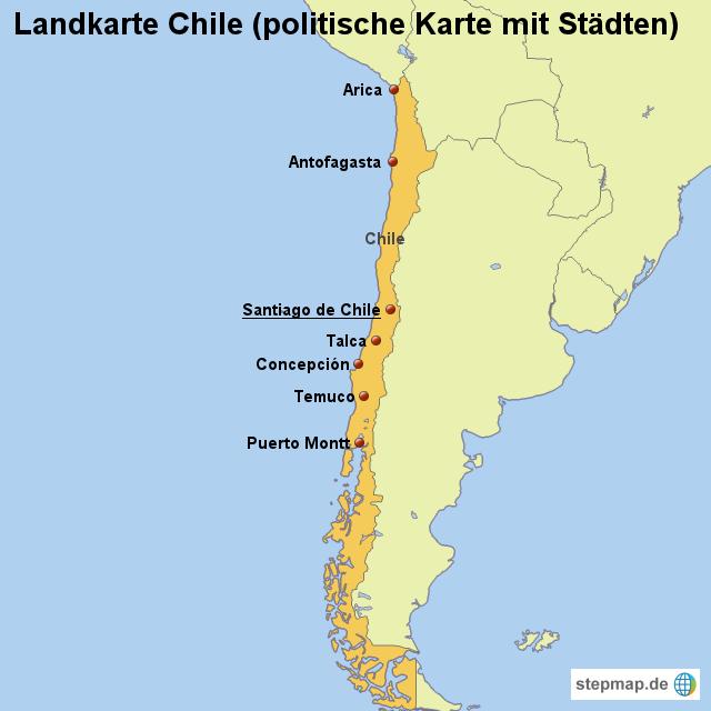 landkarte chile StepMap   Landkarte Chile (politische Karte mit Städten  landkarte chile
