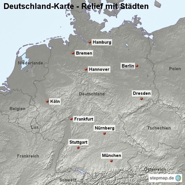 stepmap landkarte deutschland relief mit st dten. Black Bedroom Furniture Sets. Home Design Ideas