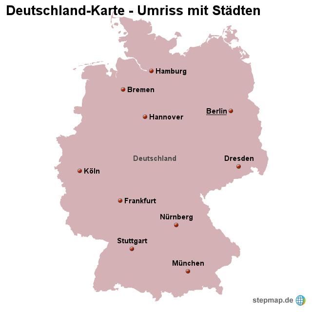 stepmap landkarte deutschland umriss mit st dten. Black Bedroom Furniture Sets. Home Design Ideas