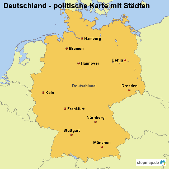 landkarte von deutschland StepMap   Landkarte Deutschland (politische Karte mit Städten  landkarte von deutschland