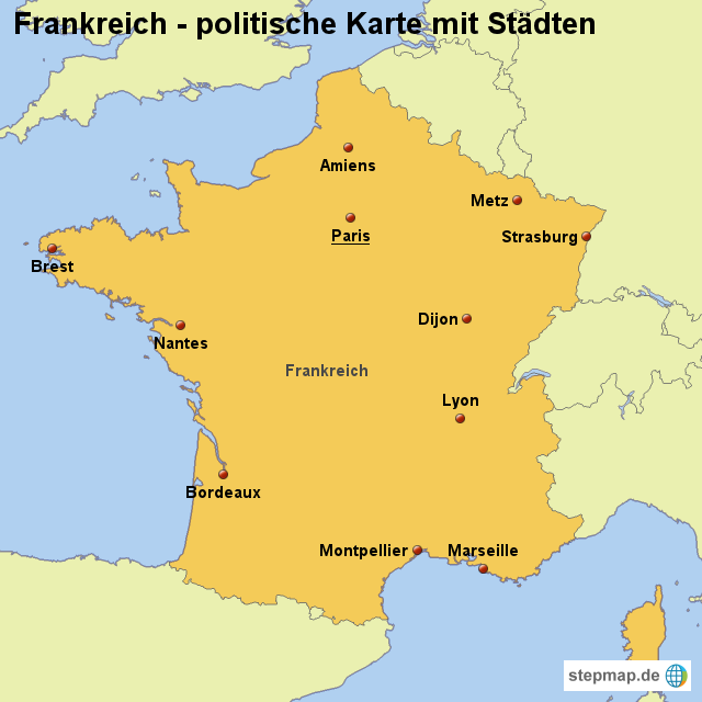 Frankreich Karte Stadte.Stepmap Landkarte Frankreich Politische Karte Mit Stadten