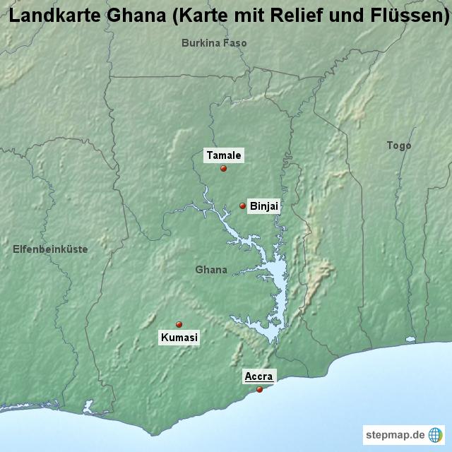 Ghana Karte.Stepmap Landkarte Ghana Karte Mit Relief Und Flussen