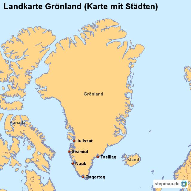 grönland karte StepMap   Landkarte Grönland (Karte mit Städten)   Landkarte für