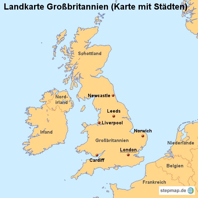 karte von großbritannien StepMap   Landkarte Großbritannien (Karte mit Städten)   Landkarte  karte von großbritannien