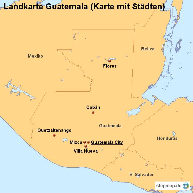 Guatemala Karte.Stepmap Landkarte Guatemala Karte Mit Städten Landkarte Für