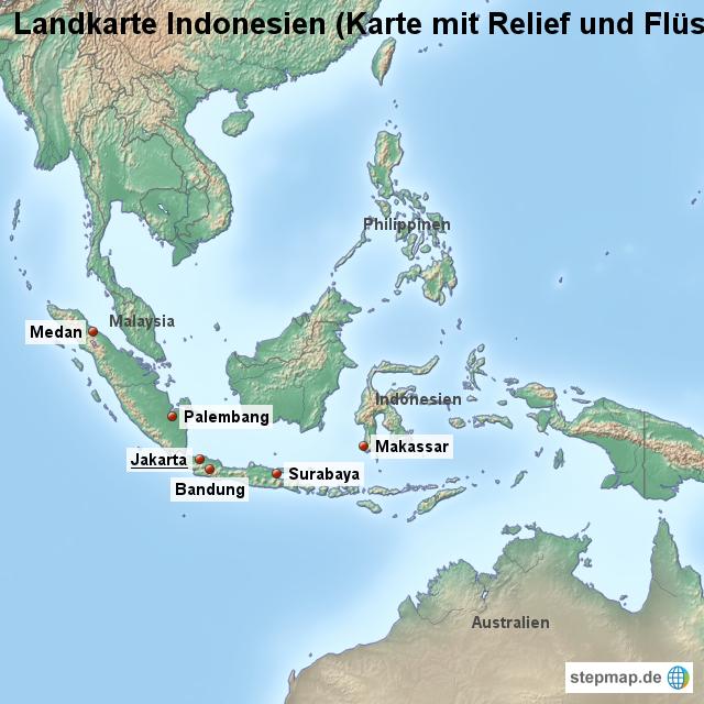 Indonesien Karte.Stepmap Landkarte Indonesien Karte Mit Relief Und Flussen