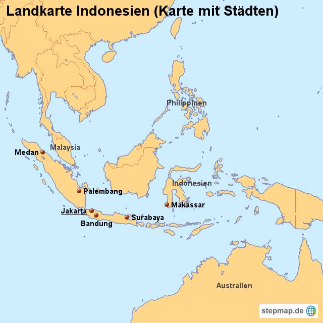 indonesien karte mit städten StepMap   Landkarte Indonesien (Karte mit Städten)   Landkarte für
