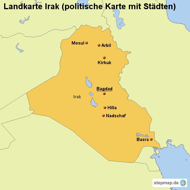 landkarte irak StepMap   Landkarte Irak (politische Karte mit Städten  landkarte irak