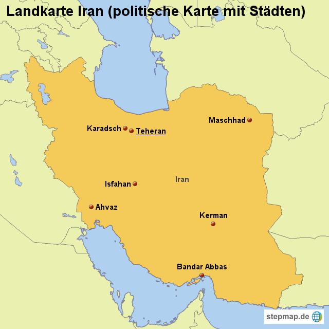 landkarte iran StepMap   Landkarte Iran (politische Karte mit Städten  landkarte iran