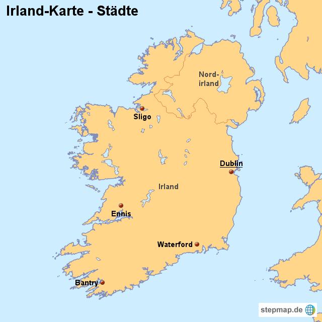Irland Karte Städte.Stepmap Landkarte Irland Karte Mit Städten Landkarte Für Irland