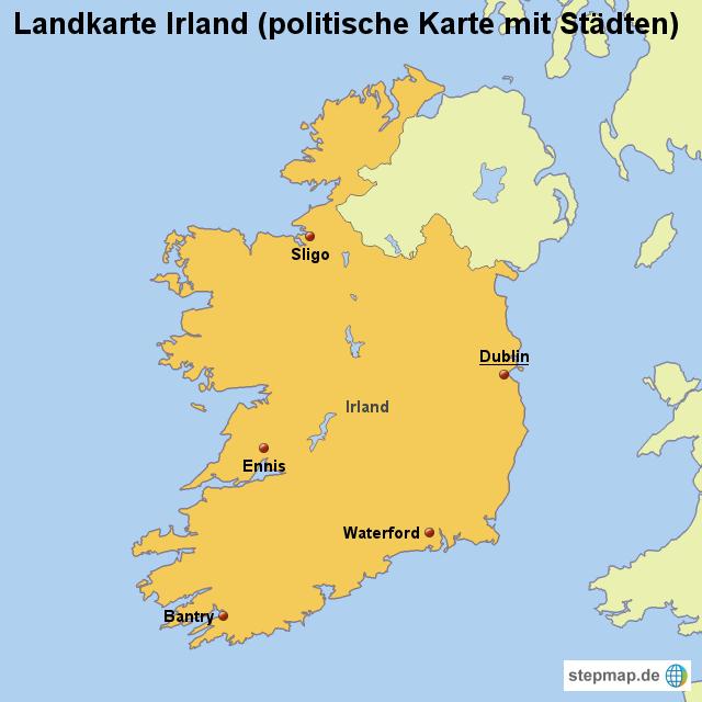 Irland Karte Städte.Stepmap Landkarte Irland Politische Karte Mit Städten